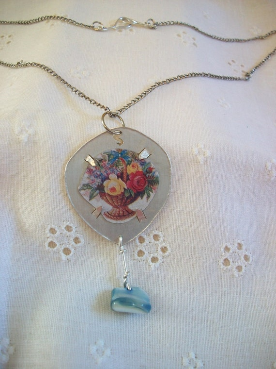 Hopelessly Romantic Silver Necklace with Blue Shell Drop