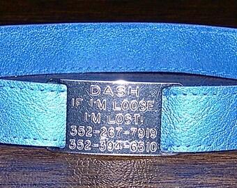 Leather Custom Tag Collar for Greyhounds - Royal Blue Metallic