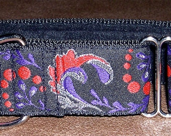 Martingale Collar 1.5 Inch Wide for Greyhounds/Sighthounds - Red & Purple Swirls