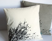 Black Trees Cotton silk screened pillow