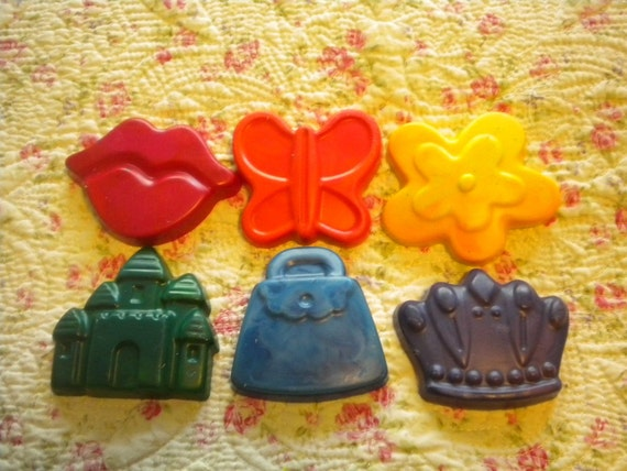 Children Crayons- girl party favors - princess theme- Set of Six (6) - Multi-colored