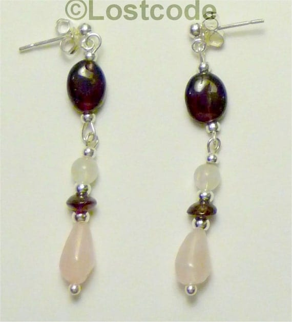Garnet and rose quartz sterling silver earrings