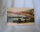 Vintage Hand-tinted Turkish Postcard--Les Iles des Princes Harbor Scene