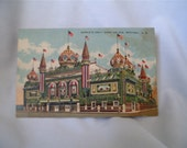 1945 World's Only Corn Palace Linen Postcard