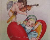 1920's Embossed Stecher Cupid and Girl Valentine Postcard