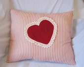 Red Striped Heart Applique Pillow