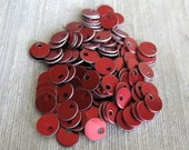 200 Red Tiny Chainmail Aluminum Disks Tags Circles