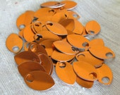 100 Orange Anodized Aluminum Scales Leaves Feathers
