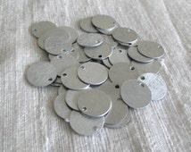50 Brushed Aluminum Tags Discs Circles