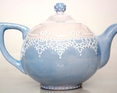 Victorian teapot handpainted with lace dotting