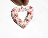 Heart Charm with painted red flowers