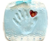Shabby chic baby 3-D Hand and foot plaque  Mold included