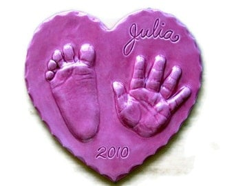 Personalized Baby Handprint - Baby Girl Keepsake - Custom Baby Ornament  - Newborn Keepsake -  Hand and Foot Print - Newborn Baby Gift