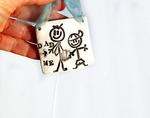 Stick figure Dad and son ornament to remind you of your special bond