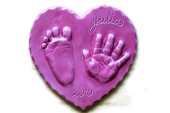 Personalized Baby hand print ornament gift in 3-D Ceramic