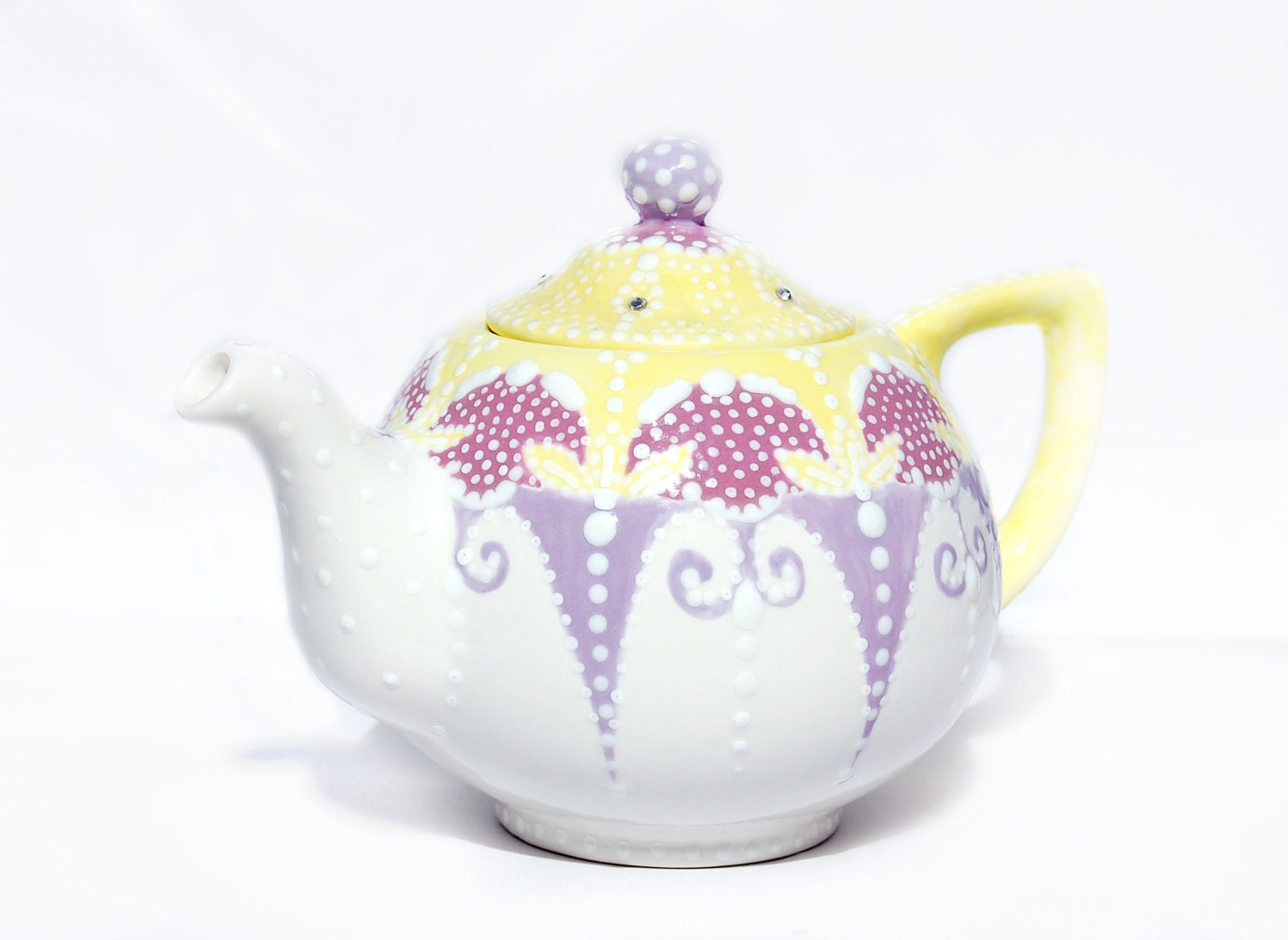 Whimsical Teapot Hand Painted With Lace Dotting