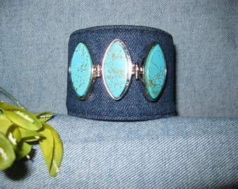 Denim Cuff Bracelet with Turquoise and Silver