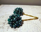 Cluster Hair Pins - Upcycled Vintage Cluster Earrings on Long Gold Plated Bobby Pins