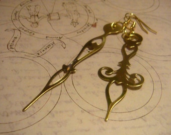 Large Victorian-Style Brass Clock Hand Earrings