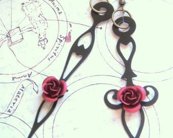 Large Red Rose Victorian-Style Black Clock Hand Earrings