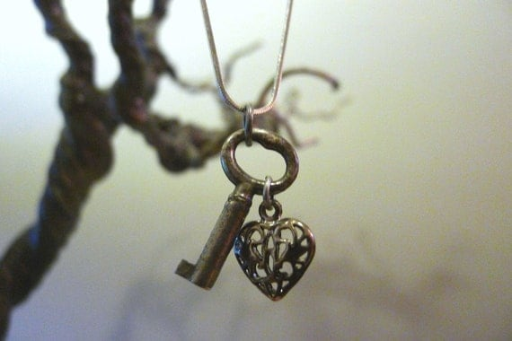 Petite Antique Key Necklace with Vintage Filigree Heart - Dainty and Cute