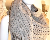 Reserved 1970's, GORGEOUS GRAY, Vintage, Scarf,Large, Warm
