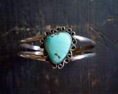 Navajo Turquoise Bracelet/ Native American cuff/1960s/ Robin's Egg Blue/Southwestern bracelet