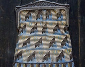 20's deco Bag/ Whiting & Davis/ FLAPPER/ Early 20's Mesh Bag/ Enamel/ Tag inside FREE SHIPPING