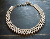 50's, Woven Pearl Necklace, Japanese, Gray and Beige