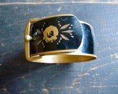 Reserved Edwardian Buckle Bracelet/ Late Victorian, Early Edwardian/ 1880s-1900, Mourning/ Enamel/ Brass