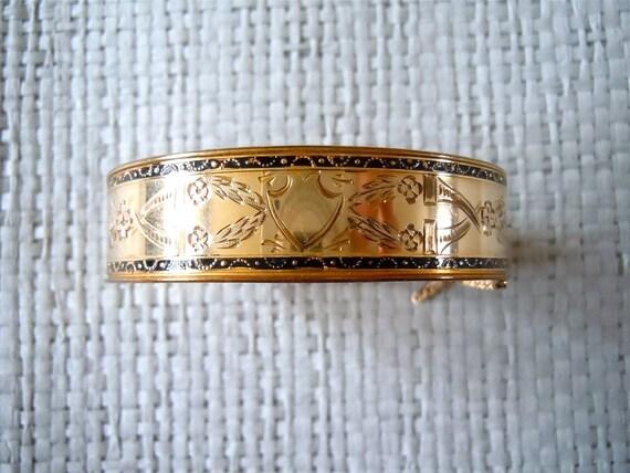 Victorian Bangle/ 10k Gold Filled Bracelet/ F.M. Co., Enamel, Etched, Bangle, 1800's