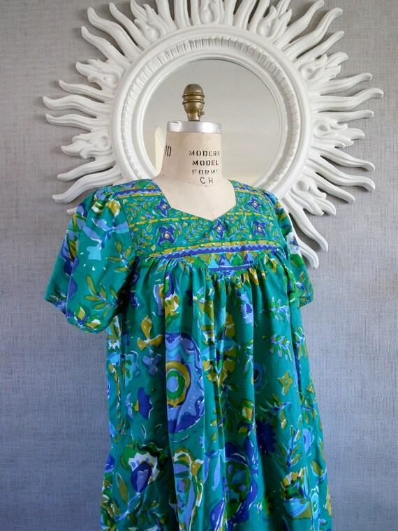 80's Caftan Dress, Indian Caftan,Turquoise, Teal, Summer Dress, Floral Sun dress, Indian tunic dress