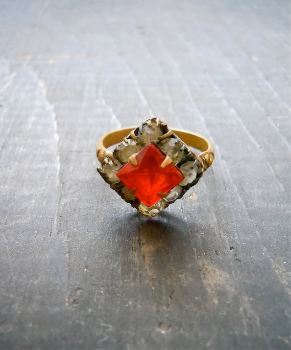 Edwardian Ring/ Early 1900's / Brass and Cut glass
