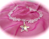 Starfish Necklace, created with healing  Quartz, Swarovski Crystal and Sterling Silver