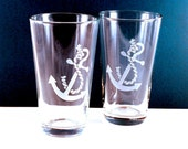 2 Anchor Etched Pint Glasses