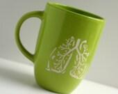 Anatomiques poumons gravé mug vert