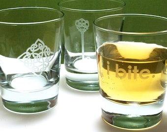 4 Old Fashioned Glasses - YOUR CHOICE