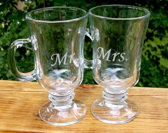 Mr and Mrs Irish Coffee Glass set - Great Wedding Gift