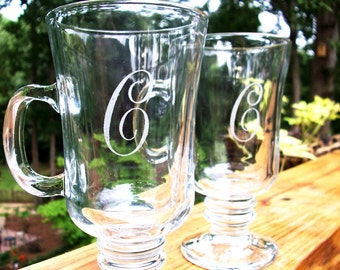 Personalized Initial - Irish Coffee Glass set - Great Wedding Gift