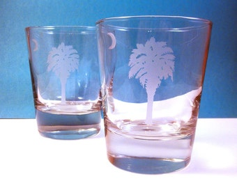 1  Old Fashioned Glass - SC Palmetto Tree