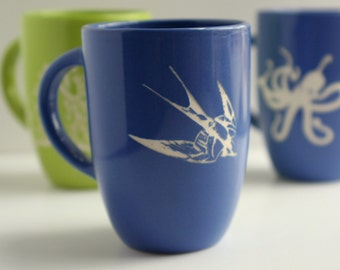 Sparrow- etched blue mug