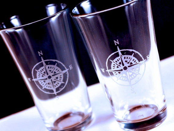 1 Compass Etched Pint Glass