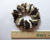 Brown variegated loopy scrunchie, cotton crocheted ponytail
