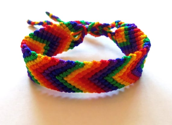 Rainbow knotted friendship bracelet