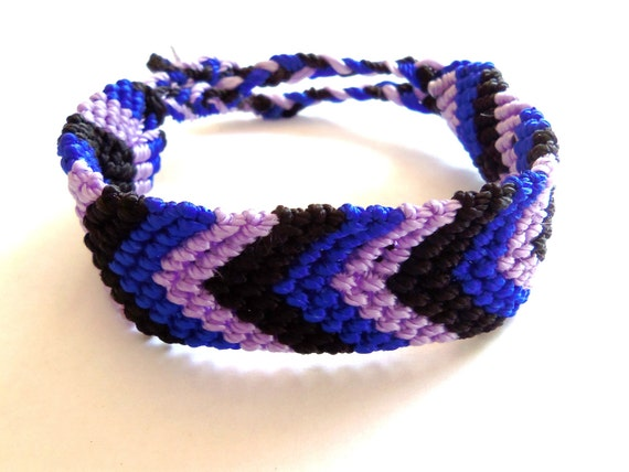 Black, blue and lavender knotted friendship bracelet, wide, FREE SHIPPING USA