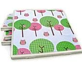 Pink Owls in Pink & Green Trees Handmade Tile Coasters, Set of 4 Beverage Coasters