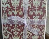 Chocolate Mint Toile Handmade Tile Coasters, Set of 4