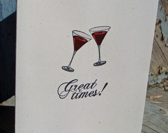 Wine Glass 'Great Times' Handmade Greeting Card