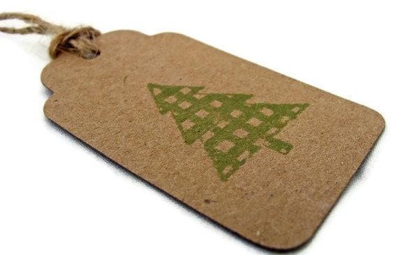 Gingham Christmas Tree Gift Tags Set of 6 Handmade Scrapbooking Kraft Paper Brown Green Holiday Rustic