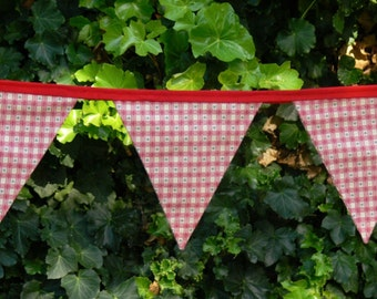 Fabric Bunting/Flags/Banner - Red Vintage Style Hearts